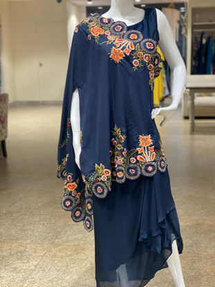 Picture of Indo-western Plain Top With Stylish Cape And Skirt