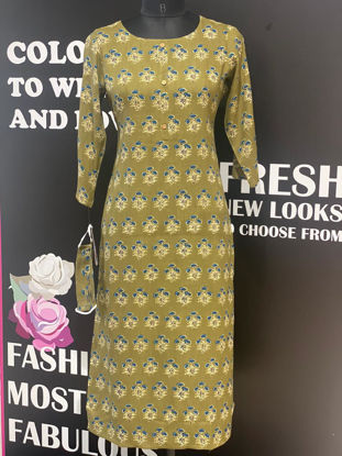 Picture of Pure Cotton Block Print Kurta With Mask - Green