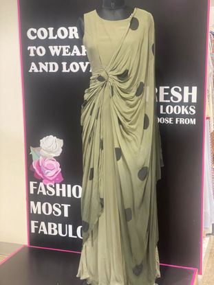 Picture of Long Georgette Drape Style Gown With Polka Dots
