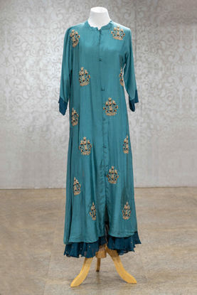 Picture of Teal Blue Muslin Silk Gown