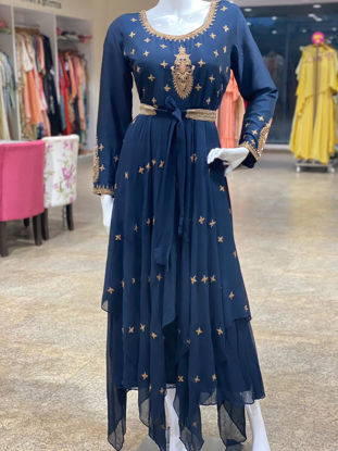 Picture of Indo-Western Gown With Work And Belt