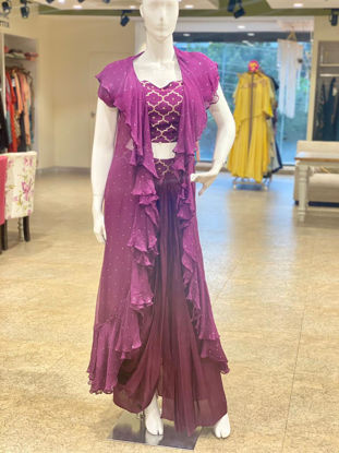 Picture of Silky Indo-Western Short Blouse With Skirt And Jacket