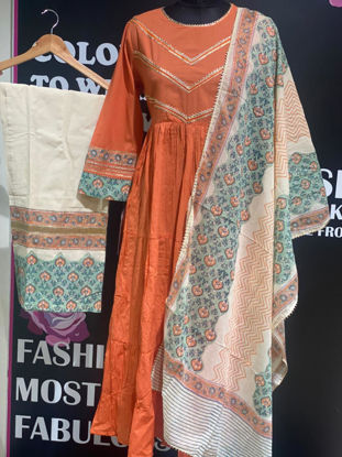 Picture of Long Anarkali Style Tunic With Block Printed Pants And Dupatta