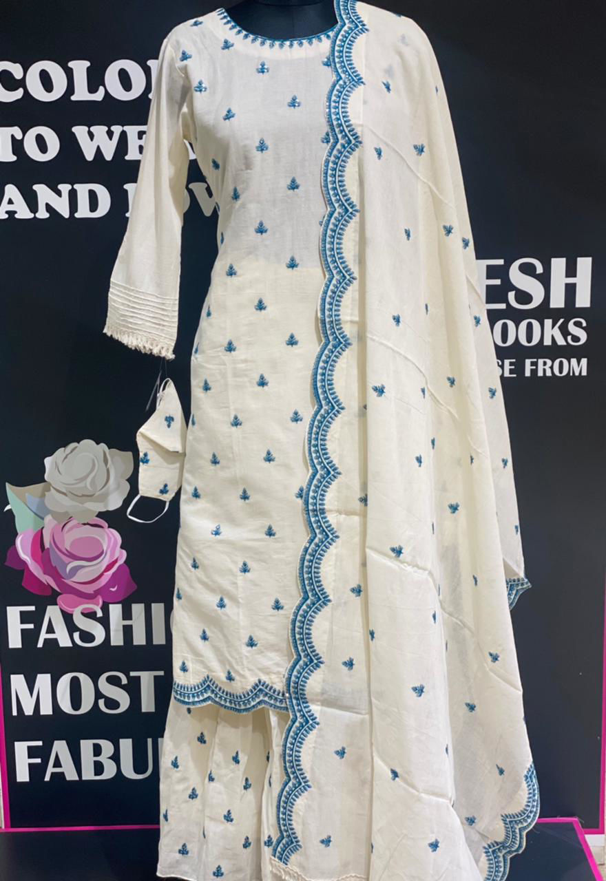 Picture of Beautiful soft mal cotton kurta, sharara and dupatta with contrast thread embroidery butis all over done